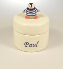 boîte dents prénom pingouin marinière personnalisé idée cadeau naissance  faïence quimper moineauxandco