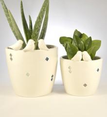 cache-pot plantes oiseaux losange céramique faïence quimper moineauxandco