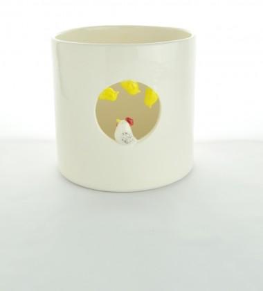 pot à ustensiles de cuisine poule et trois poussins en faïence - céramique artisanale moineaux & co quimper - ateliers d'art de france