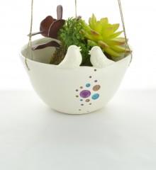 suspension cosmique deux moineaux - pour plantes à suspendre- céramique - moineauxandco