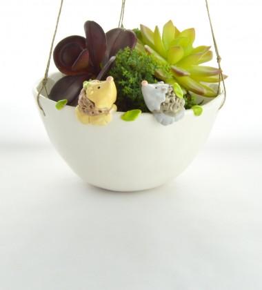 suspension deux hérissons feuillage - pour plantes à suspendre - poterie artisanale - moineaux & co quimper France