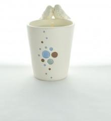 bougie cosmique moineaux oiseaux faïence cire végétale soja céramique artisanale quimper moineaux & co