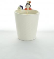 bougie macareux moine faïence cire naturelle soja poterie artisanale céramiste moineaux & co quimper