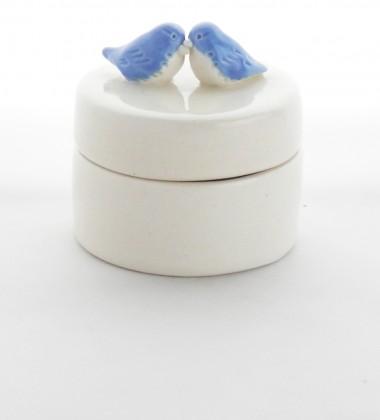 Boîte à dents de lait oiseaux. Cadeau de naissance. Céramique artisanale fabriquée en France à Quimper.