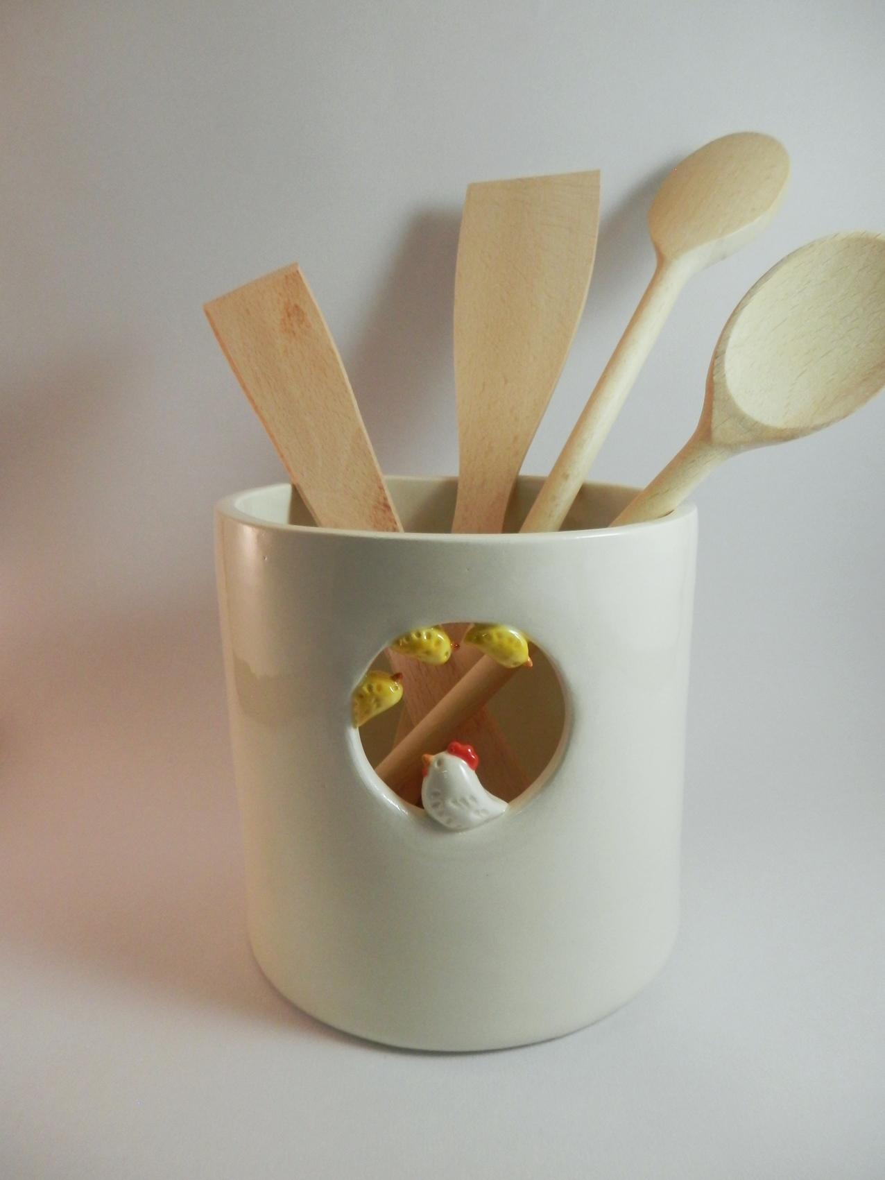 Pot ustensiles poule et poussins for Pot a couverts cuisine