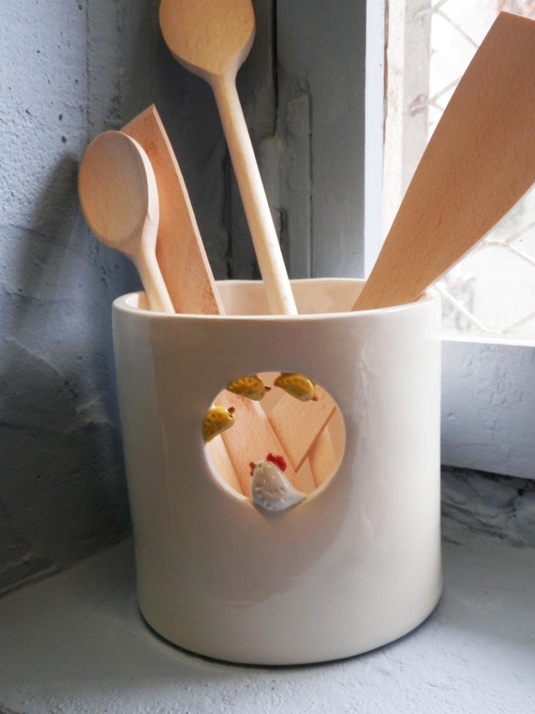 Pot ustensiles poule et poussins - Pot a ustensiles cuisine ...