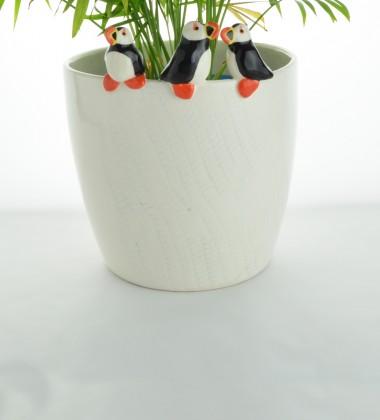 Cache-pot macareux moine. Céramique artisanale made in Quimper !