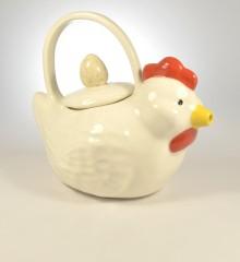 théière sculpture poule moineauxandco faïence made in quimper bretagne