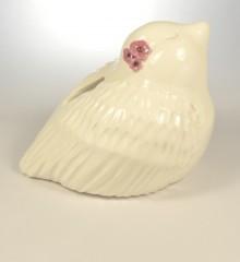 tirelire oiseau fleurs roses cadeau de naissance fille moineauxandco faïence made in quimmper france
