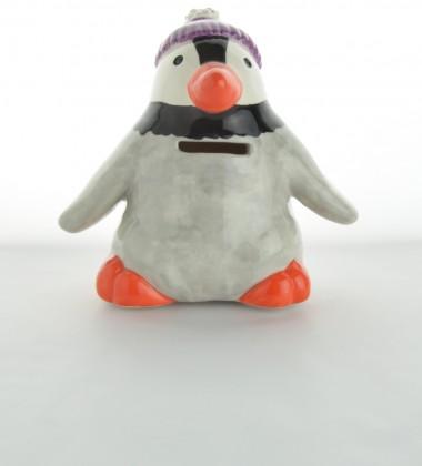 tirelire pingouin en faïence avec un  bonnet moineaux & co