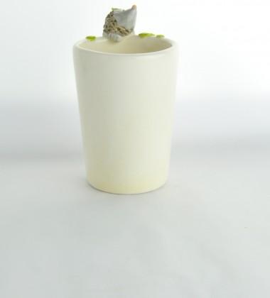 verre à brosses à dents hérissons en poterie artisanale céramiste d'art Moineaux & Co quimper