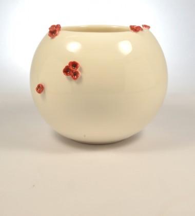 vase boule fleurs de cerisier japonais rouge faïence made in quimper france moineauxandco céramiste
