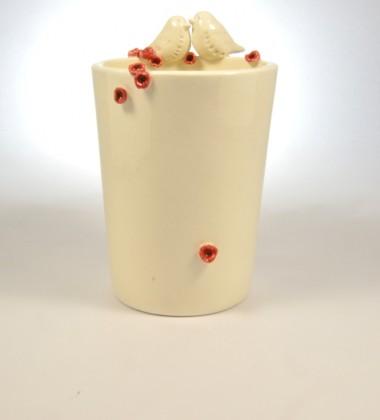 verre à brosses à dents oiseaux fleurs de cerisier japonais