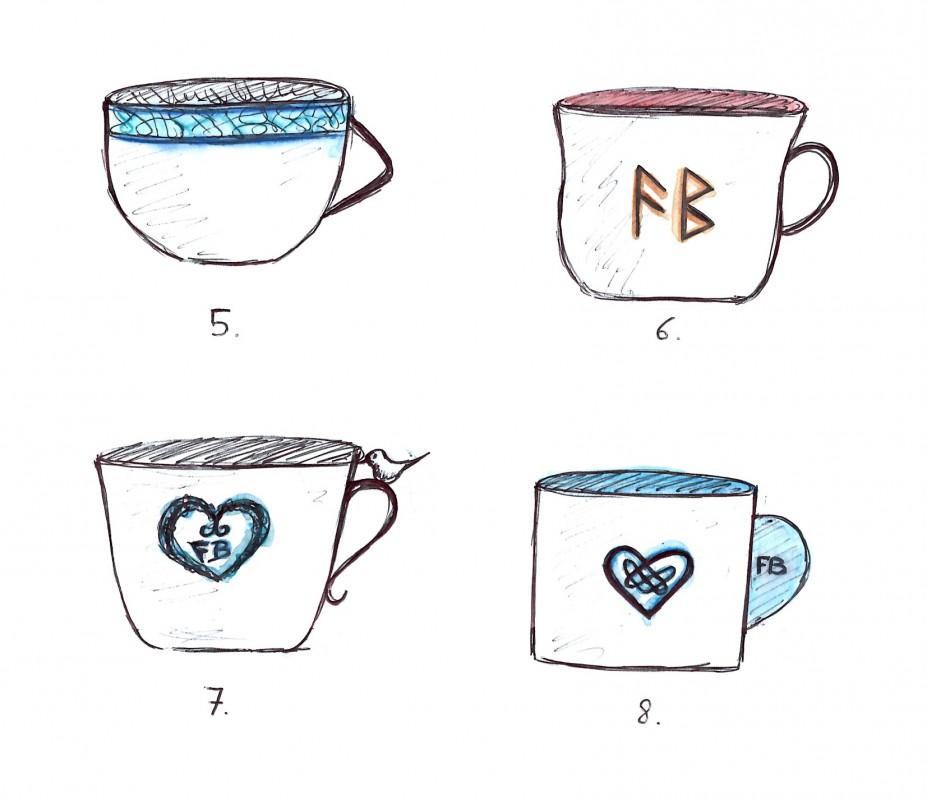 """Thème plus """"bretonnant"""" et celtique avec des motifs et décors d'entrelacs. Formes de tasses toujours variées."""