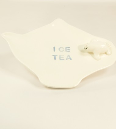 Repose-sachet de thé Ice Tea - phoque en faïence. made in Quimper.