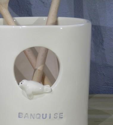 pot à ustensiles céramique faïence - phoque banquise - made in Quimper