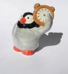 figurine pingouin horloger - faïence - poterie - moineaux & co - horlogerie besançon