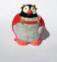 Figurine pingouin Jules César empereur romain - faïence - poterie - moineaux & co