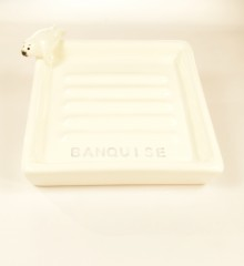 porte-savon carré rétro faïence poterie phoque banquise moineaux & co