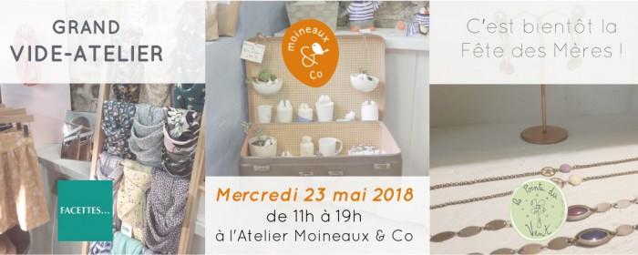Vide-atelier spécial fête des mères. Céramiques Moineaux & Co, vêtements et accessoires Facettes, Bijoux la Pointe du vent. Mercredi 23 mai 2018 à l'Atelier Moineaux & Co à Quimper.