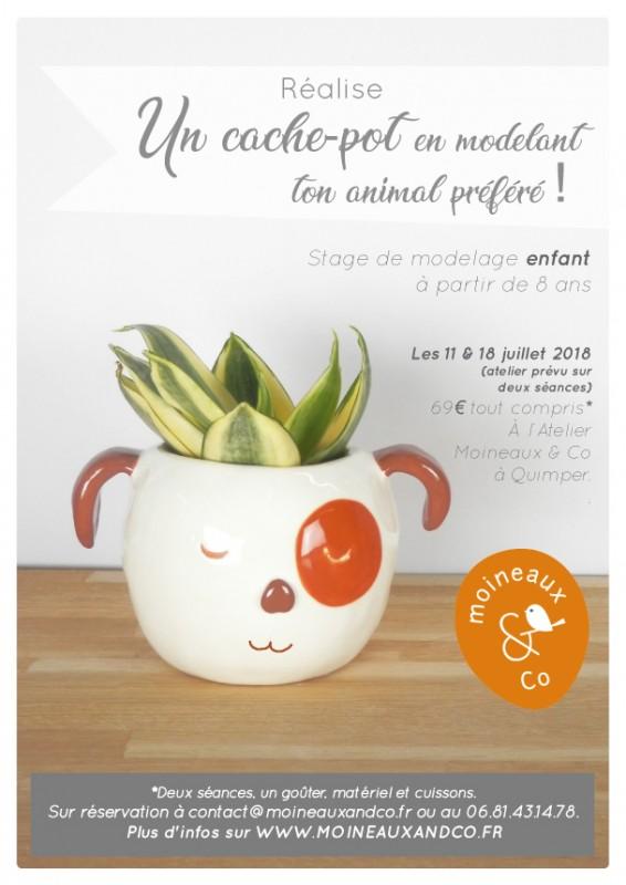 atelier réalise un cache-pot en modelant ton animal préféré ! Stage poterie enfant - Moineaux & Co Quimper