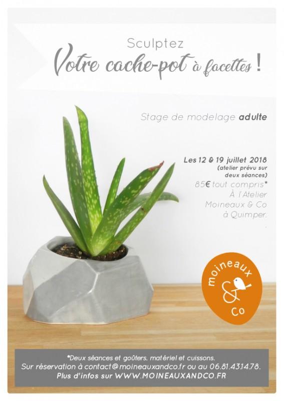 stage modelage adulte - cache pot à facettes - juillet 2018 - atelier céramique Moineaux & Co Quimper