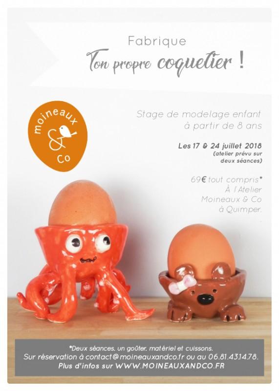 Cours de modelage enfant - stage coquetier - Atelier Moineaux & Co à Quimper