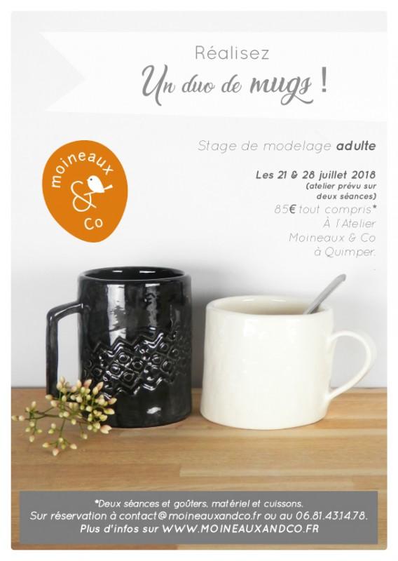 stage modelage adulte - duo de mugs - cours de poterie atelier de céramique Moineaux & Co Quimper