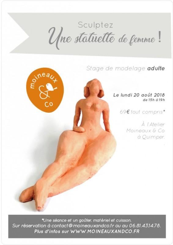 Atelier de modelage réalisation d'une sculpture représentant une femme. Atelier de céramique Moineaux & Co à Quimper.