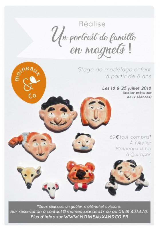 atelier poterie enfant chez Moineaux & Co à Quimper - Portrait de famille en magnets