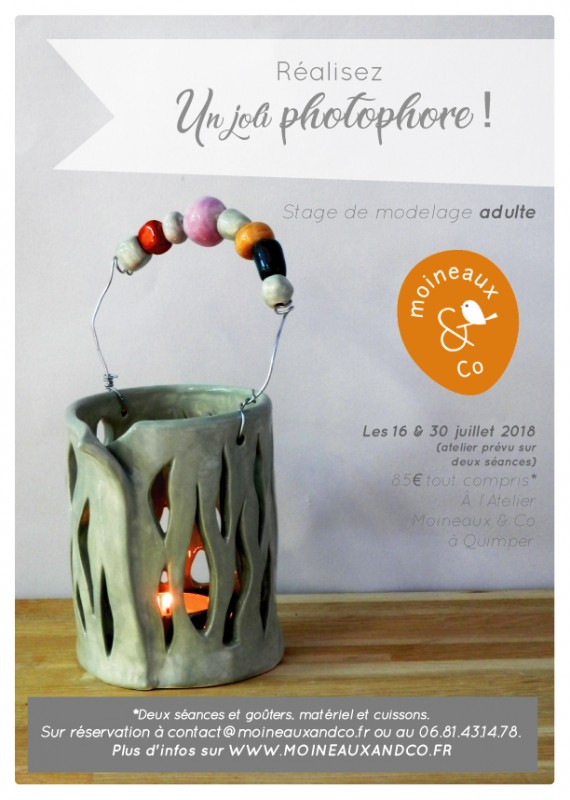 atelier modelage adulte - réalisez un joli photophore - cours de poterie Atelier de céramique Moineaux & Co Quimper
