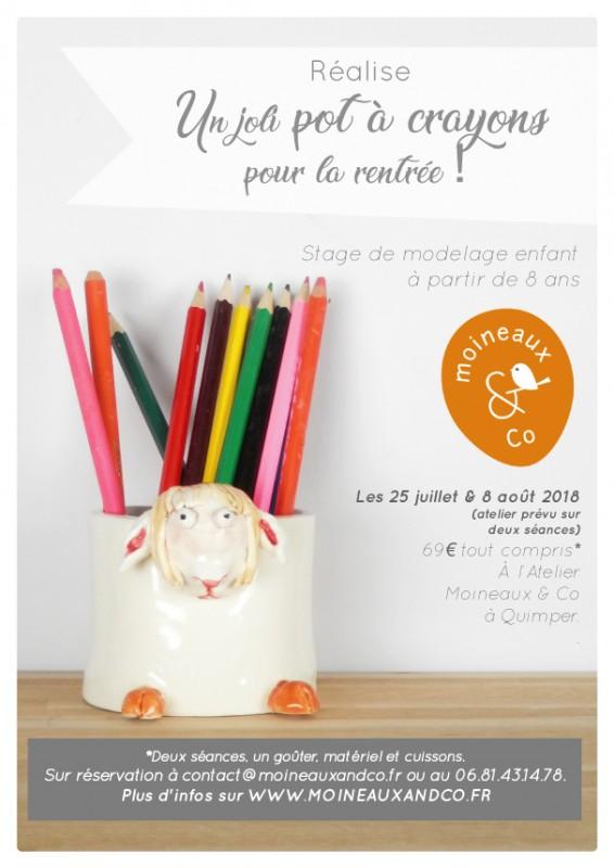 Atelier de modelage enfant - stage chez Moineaux & Co - pot à crayons