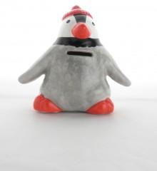 Tirelire pingouin bonnet rouge