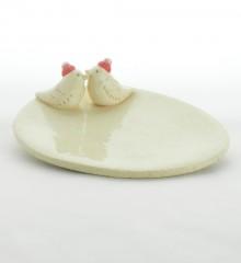 Vide-poche ovale avec deux oiseaux Père Noël