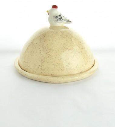 Beurrier rond poule sur son oeuf. Pour les mottes de beurre ! Céramique artisanale de fabrication française.