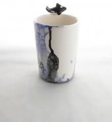 Verre à brosses à dents orque et bulles de savon en céramique.