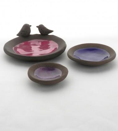 Trio de vide-poches moineaux en faïence brune - Atelier Moineaux & Co à Quimper
