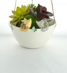 suspension deux hérissons papillons - pour plantes à suspendre - poterie artisanale - moineaux & co quimper France