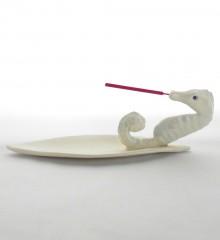Porte-encens hippocampe en céramique - made in Quimper