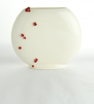 vase plat fleurs cerisier sakura japonisant faïence émaillée ateliers d'art de france moineaux & co quimper