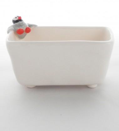 Porte-éponge pingouin. céramique artisanale Quimper.