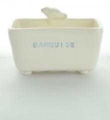 porte-éponge phoque  banquise trous pieds écoulement eau céramique poterie artisanale moineaux & co quimper