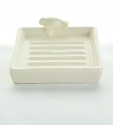 porte-savon carré rétro phoque  blanc faïence émaillée moineaux & co quimper ateliers d'art de france