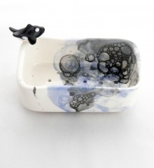 Porte-savon orque et bulles de savon en céramique.