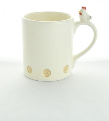 Mug poule en céramique artisanale.